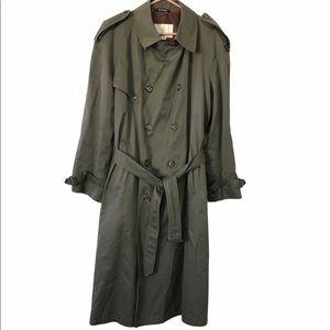 London Fog Long Gray Classic Trench Coat, 40R